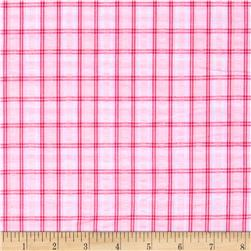Kaufman Cape Cod Seersucker Plaid Pink