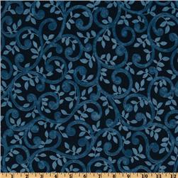 "Normandy Court 108"" Quilt Backing Scrolling Vines Blue/Navy"