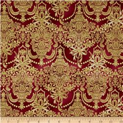 Holiday Flourish Metallic Damask Cranberry