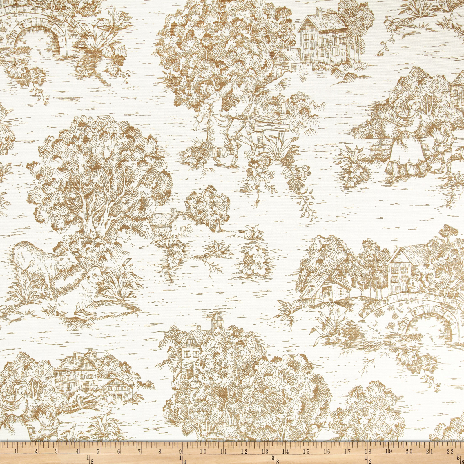 Pastoral Toile Ivory/Brown Fabric
