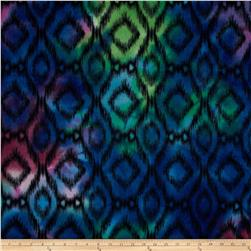 Printed Fleece Ikat Blue/Green