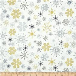 Season's Greetings Metallic Snowflakes White