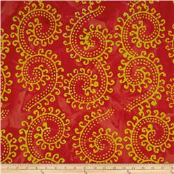 Indian Batiks Large Scroll Dark Coral