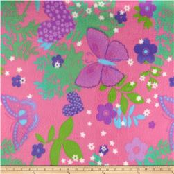 Fleece Print Floral Pink/Green/Purple