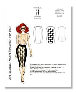 Hot Patterns Deco Vibe Deceptively Skinny Patchwork Skirt Pattern
