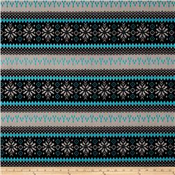 Techno Scuba Knit Snowflake Black/Turquoise/Grey