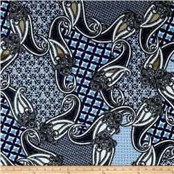Alanna Resort ITY Knit Paisley Prints Blue/Navy/White