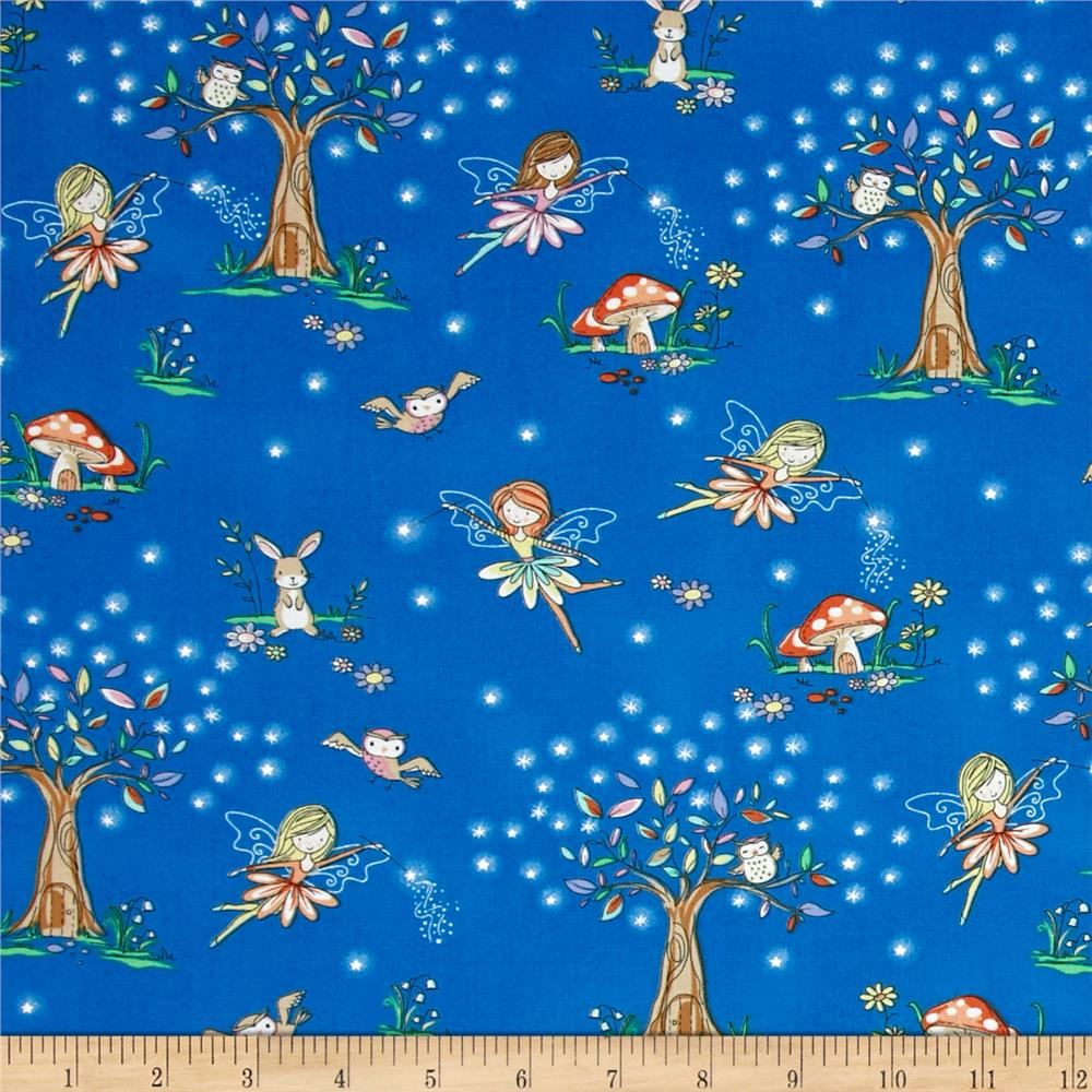 Timeless Treasures Starry Night Forest Tossed Fairy Scenic