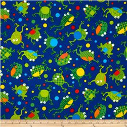 Timeless Treasures Flannel Frogs Blue