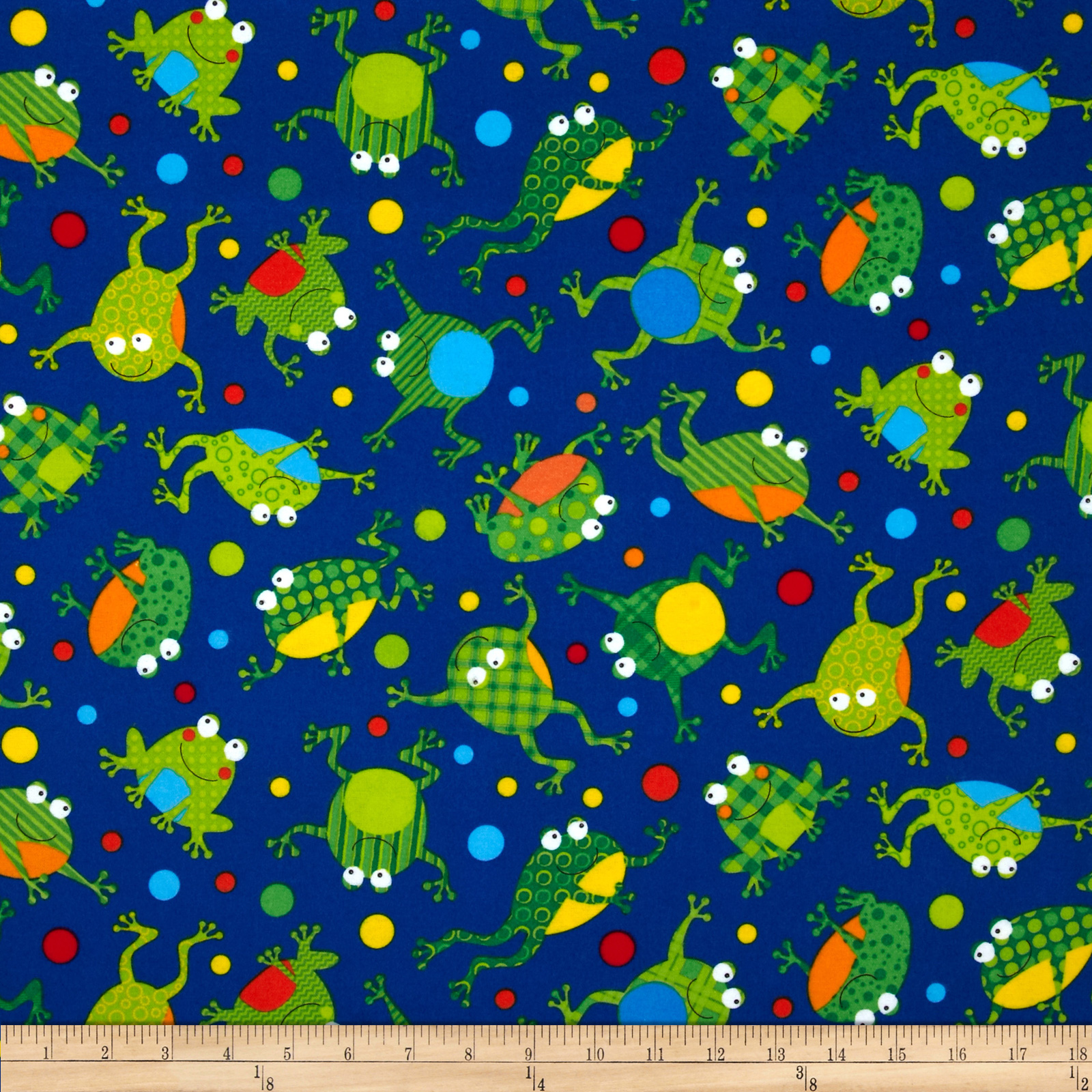 Timeless Treasures Flannel Frogs Blue Fabric