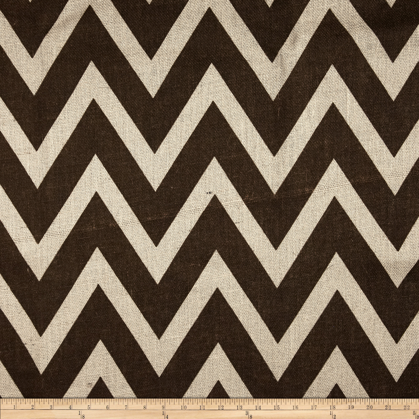 60'' Sultana Chevron Burlap Ivory/Brown Fabric