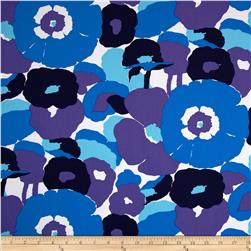 Kaufman Auntie's Attic Mod Flowers Canvas Blue