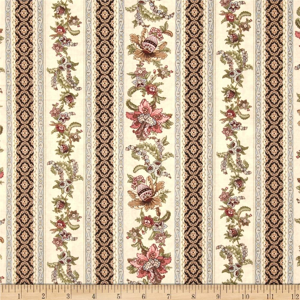 Antoinette Floral Stripe Ivory Fabric By The Yard