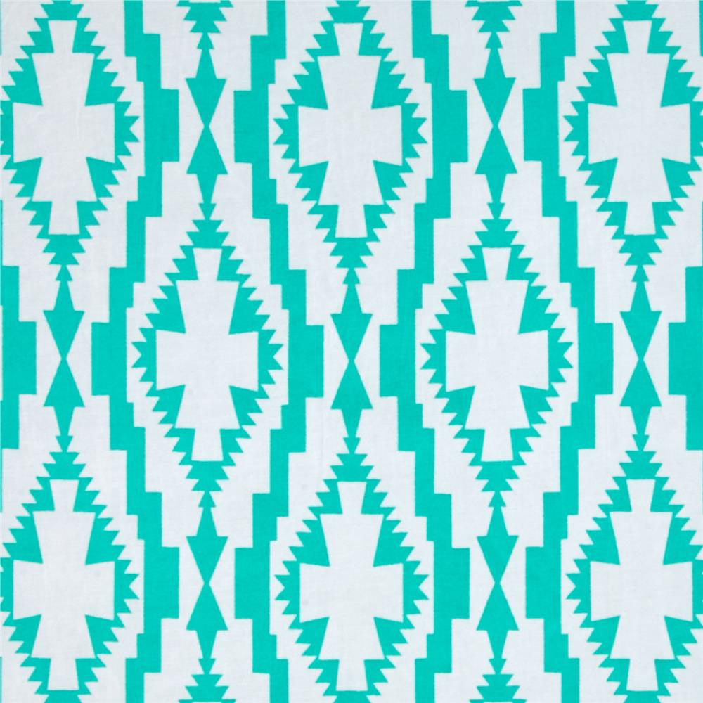 Stretch ITY Printed Abstract Shamrock Aqua