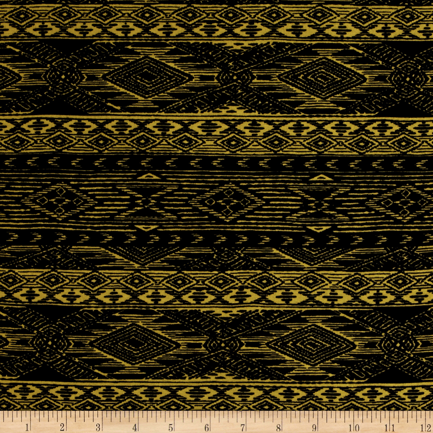Mayan Diamond Stripe Span Jersey Knit Black Sulphur Fabric