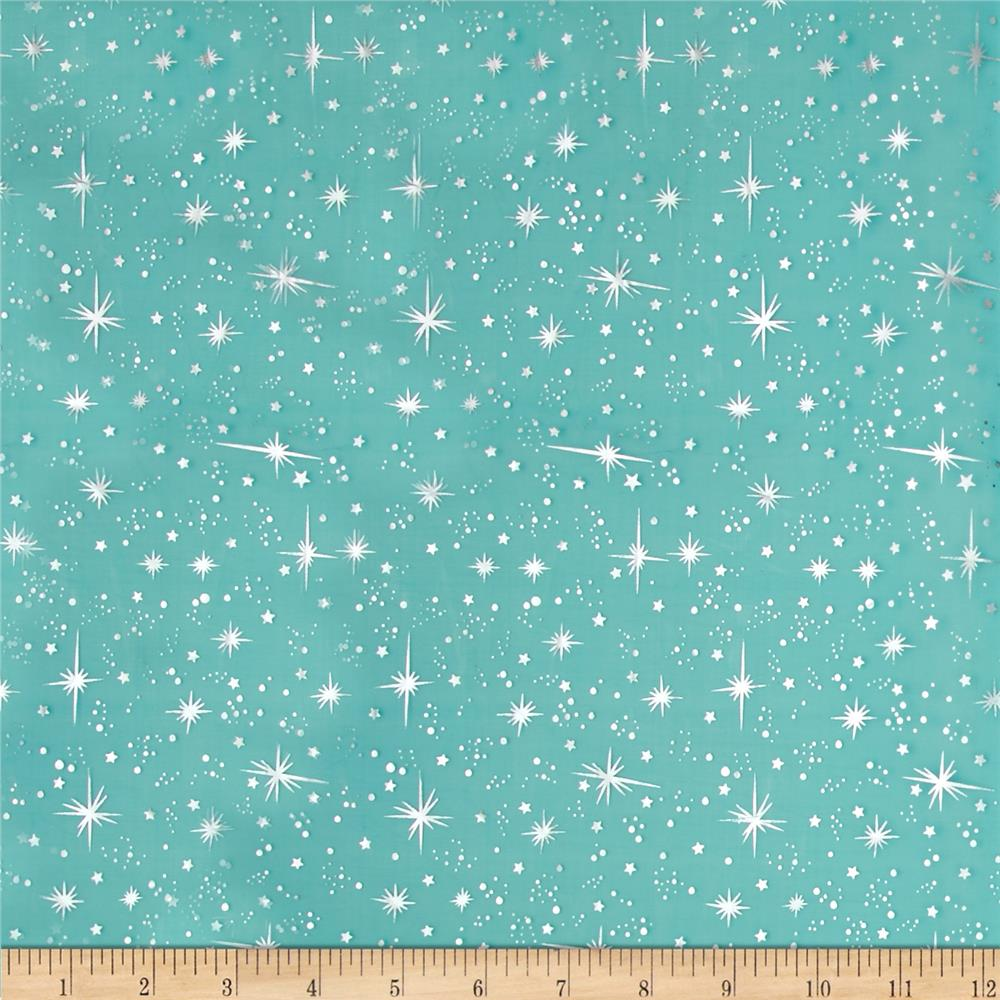 Star foil organza teal discount designer fabric for Star design fabric