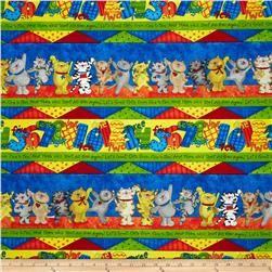 Kid's Corner Cats and Numbers Repeating Stripe Multi