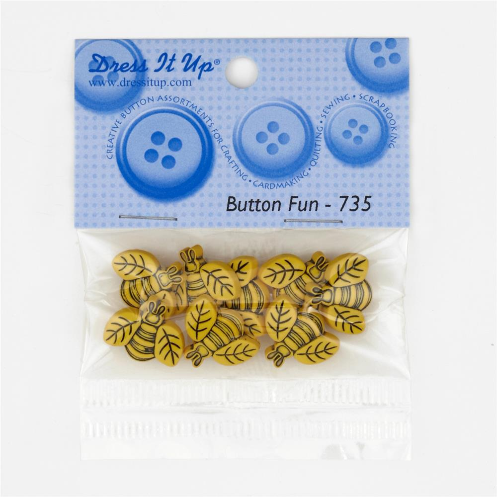 Dress It Up Embellisment Buttons  Large Bees
