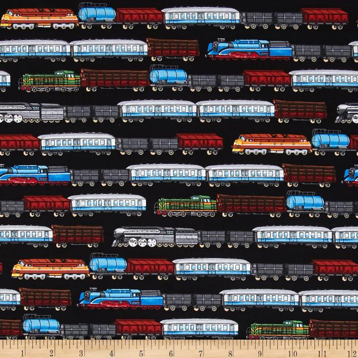 Timeless treasures train stripe black discount designer for Train print fabric