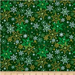 Season's Greetings Snowflake Green