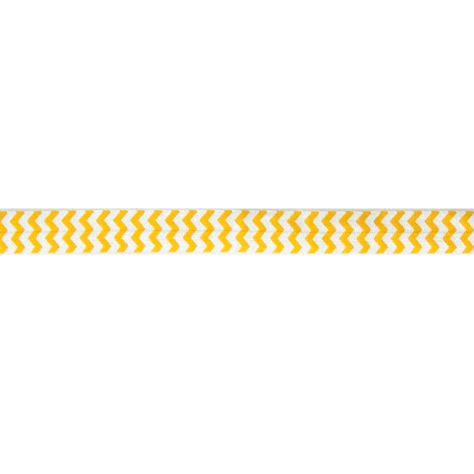 "5/8"" Fold Over Elastic Chevron Bright Yellow"