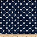 Icy Winter Silver Metallic Snowflake Stripe Navy