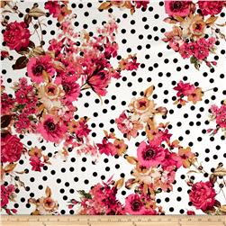 Telio Bloom Stretch Cotton Sateen Flower and Dots Print Pink