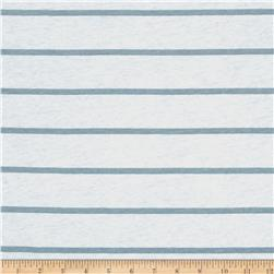 Jersey Knit Blue Mini Stripes on White