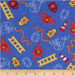 Newcastle Flannel Tossed Rescue Symbols Blue Fabric
