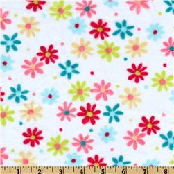 Minky Cuddle Retro Daisy White/Coral