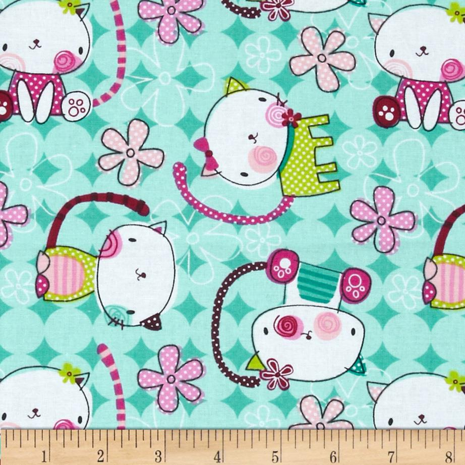 Dot Kitty Tossed Kitty Turquoise