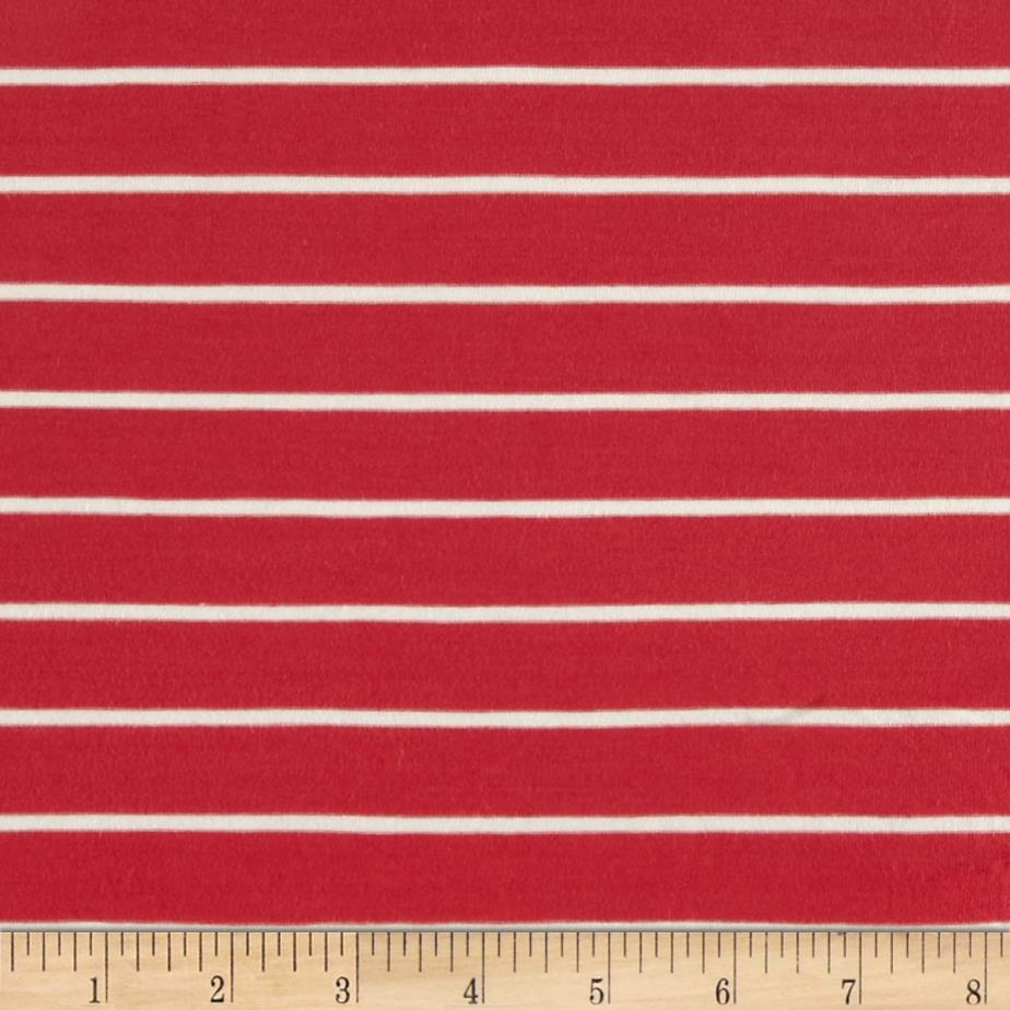 Stretch Bamboo Rayon Mariner Jersey Knit Stripe Coral/Off White