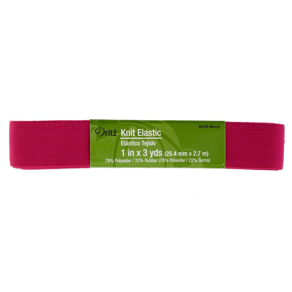 "1"" Dritz Knit Elastic Berry"