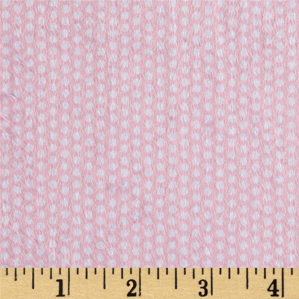 Minky Swiss Dot Pink/White