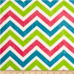 Minky Cuddle Zig Zag Fuchsia/Dark Lime/Snow Fabric
