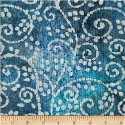 Indian Batik Crinkle Cotton Scroll Blue