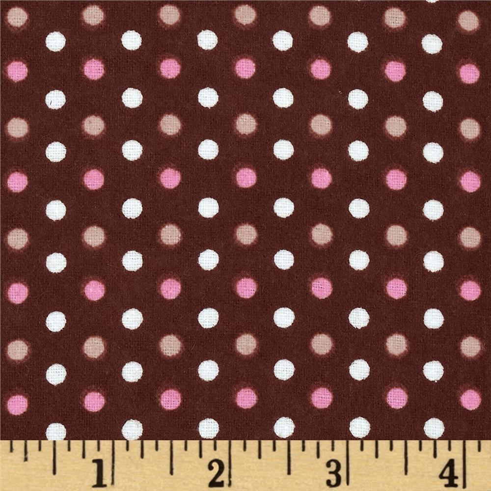 Aunt Polly's Flannel Small  Polka Dots Brown/Multi