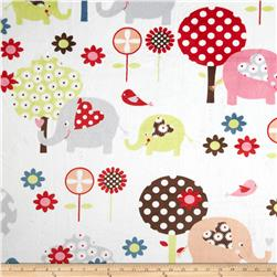 Minky Trees & Elephants White/Multi
