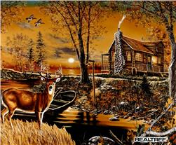 Realtree Cabin Panel Brown Fabric