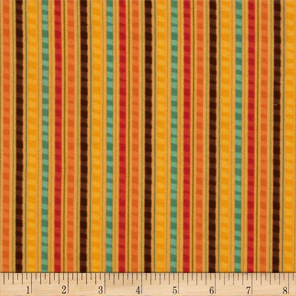 Riley Blake Giraffe Crossing Flannel Giraffe Stripe Orange