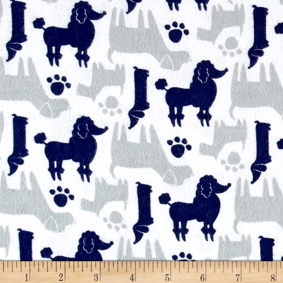 Flannel Dog Silhouettes Navy Fabric