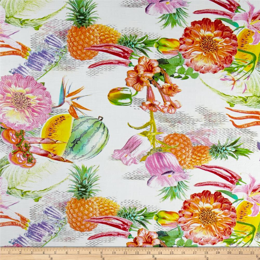 Rayon Challis Fruit Abstract Digital Prints Green/Orange/Ivory