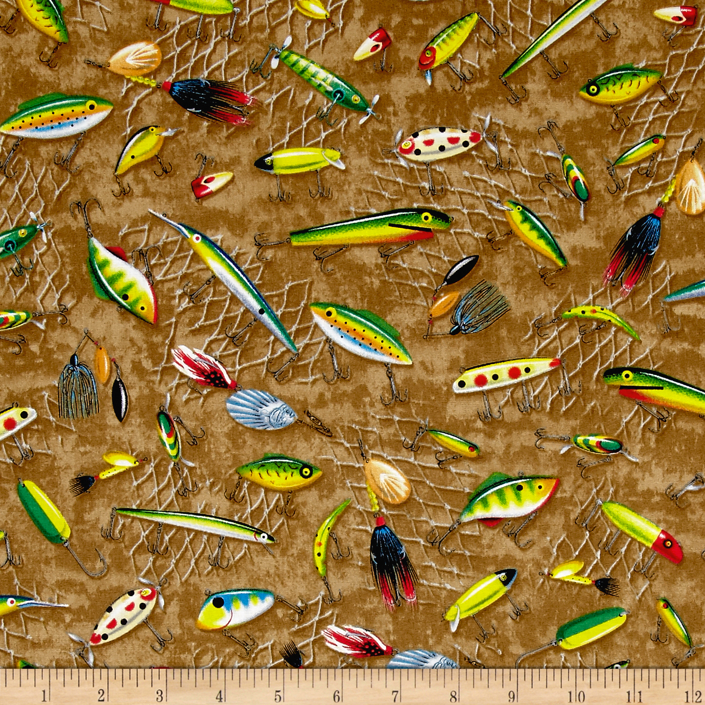 Image of Quilting Treasures So Many Fish So Little Time Fishing Lures Dark Tan Fabric