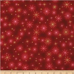 Kaufman Winter Grandeur Metallic Twinkle Crimson