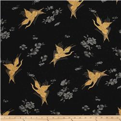 Zen Garden Metallic Cranes Black/Gold