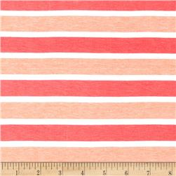 Designer Jersey Knit Yarn Dyed Stripe Coral/Salmon/Cream