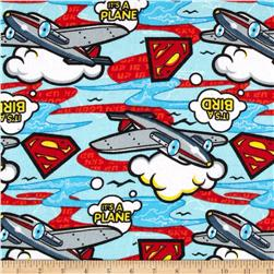 Superman Flannel Planes Light Blue