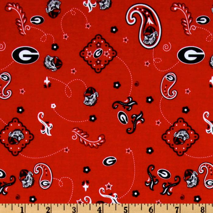 Collegiate Cotton Broadcloth University of Georgia Bandana Red Fabric By The Yard