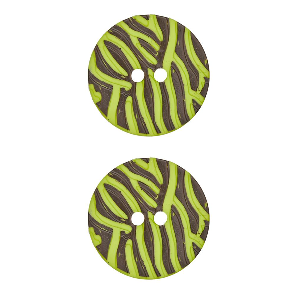 "Dill Novelty Button 1 1/8"" Lime Stripe on Brown"