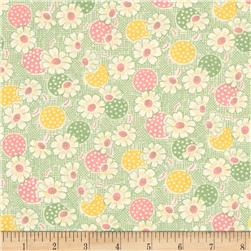 Moda Fresh Air Polka Dot Daisy Green